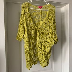 Betsy Johnson Lime Green sweater shawl with button